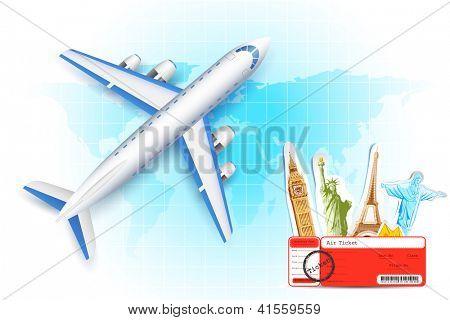 Ilustración de avión con aire billete y mundo famoso monumento