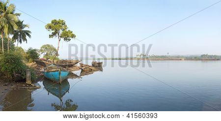 Pier For Boats On The River In Goa, India