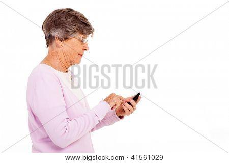 senior woman using smart phone isolated on white
