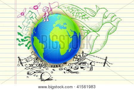 illustration of peace hand drawn doodle around earth
