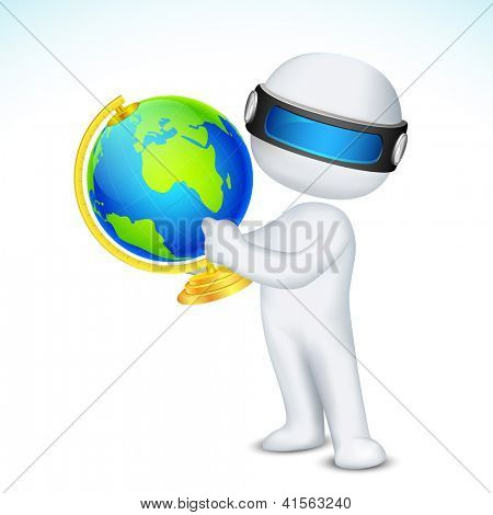 illustration of 3d man in vector fully scalable showing globe