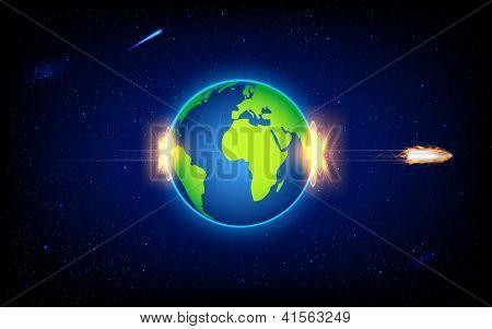 illustration of fiery bullet penetrating Earth