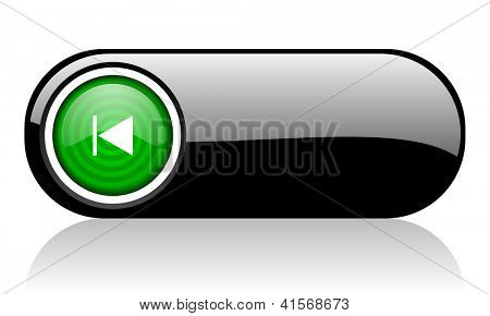 prev black and green web icon on white background