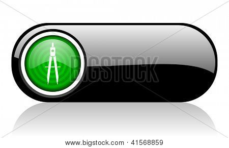 e-learning black and green web icon on white background
