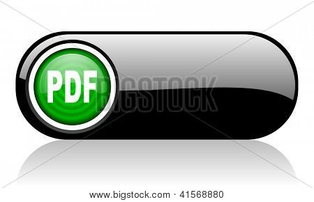 pdf black and green web icon on white background