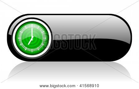 clock black and green web icon on white background