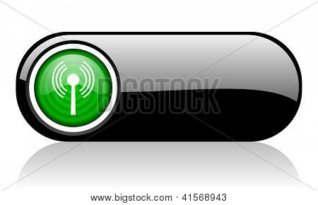 wifi black and green web icon on white background