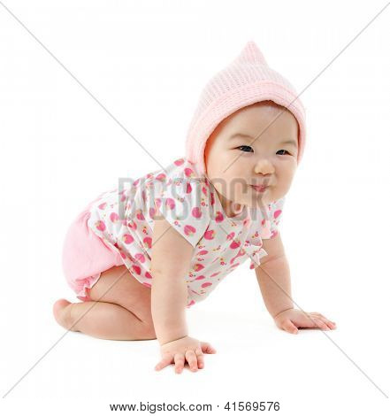 Full body Six months old East Asian baby girl crawling on white background
