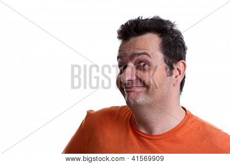 A brazilian funny guy face isolated on white background