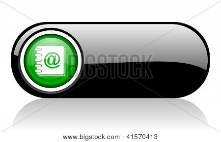 address book black and green web icon on white background