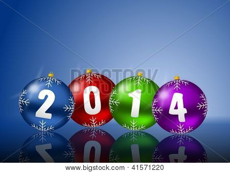 2014 new year card with christmas balls on white background