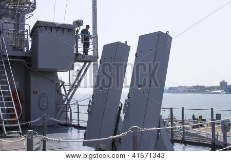 Sea sparrow missile launchers on the deck of US Navy destroyer