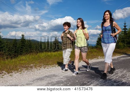 Family on walking tour