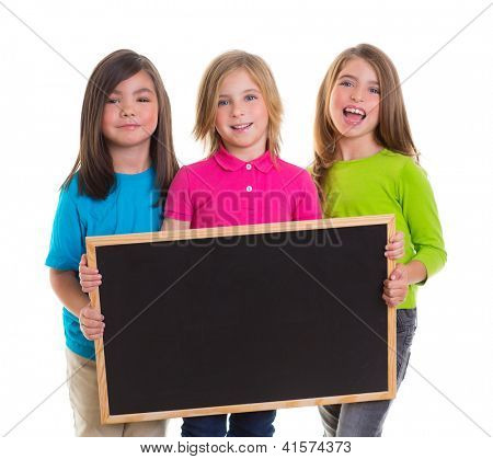 children group kid girls holding blank blackboard copy space on white background