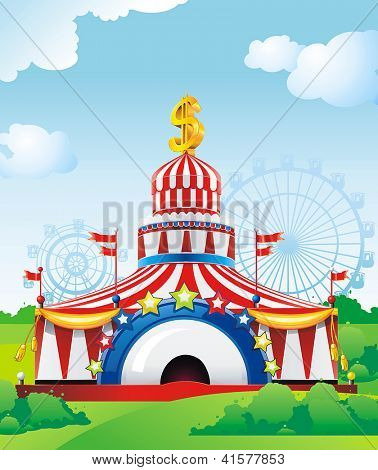 Abstract Circus tent. Classical Vector illustration.