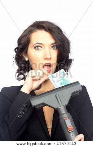 Business Woman Pull Money From Vacuum Cleaner
