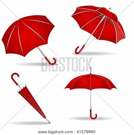 Red Umbrellas Set