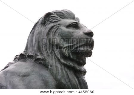 Bronze Statue Of A Lion'S Head