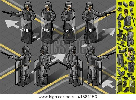Isometric Set Of Eight Policemans Standing