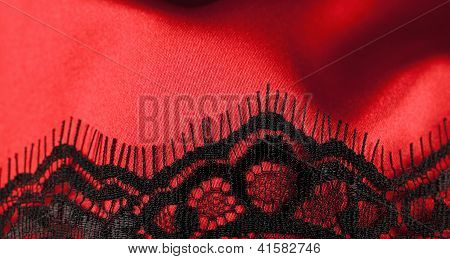 Red satin with black lace