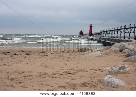Lake Michigan Beach In Winter
