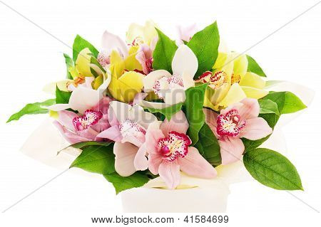Colorful Flower Bouquet From Orchids Arrangement Centerpiece In Vase Isolated On White Background