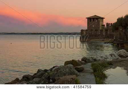 Lake Garda Sunset With The Tower Of The Scaliger Castle