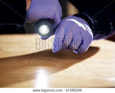 Footprint On The Floor Left By A Burglar