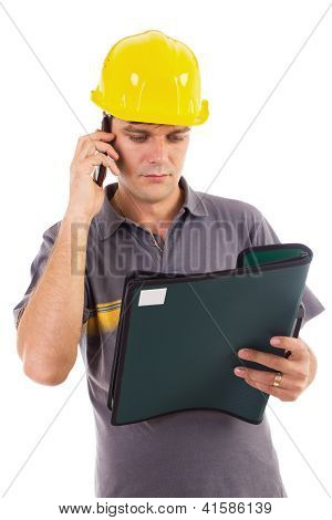 Construction Engineer Reading A Document