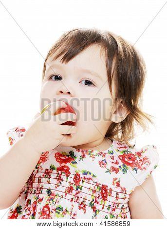 Child Eats Apple