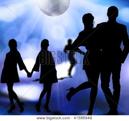silhouettes of men and women dancing at a disco