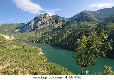 view of Koman-Fierza Lake, Albania