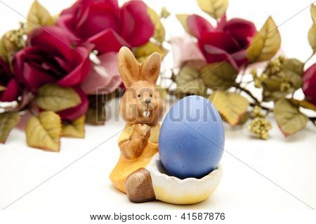 Easter bunny with Blue Easteregg