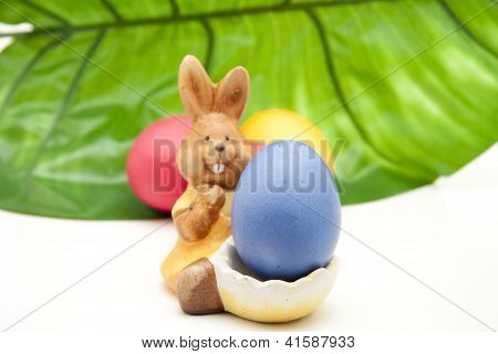 Blue Easteregg with Easter Bunny and Green Sheet