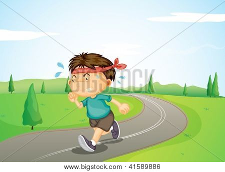 Illustration of a young boy jogging in the street
