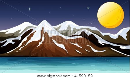 Illustration of a foggy night with stars and a full moon
