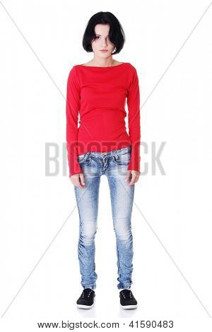 Resign woman portrait. Isolated on white.