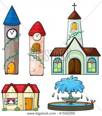 Ilustración de dos torre del reloj, una iglesia, una casa y una fuente sobre un fondo blanco