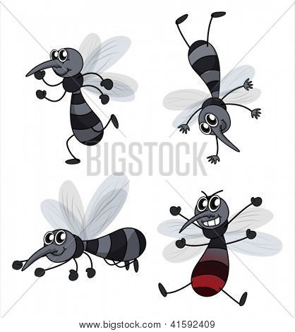 Illustration of four mosquitoes on a white background