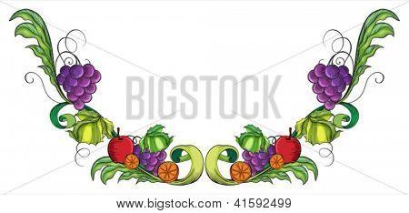 Illustration of a vine fruit border on a white background