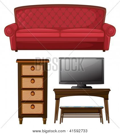 Illustration of a living room set on a white background