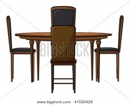 Illustration of a dinning table on a white background
