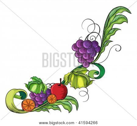 Illustration of a fruity border on a white background