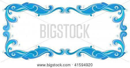 Illustration of a blue unique border on a white background