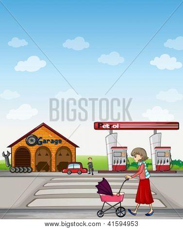 Illustration of a mother walking along a garage and gasoline station