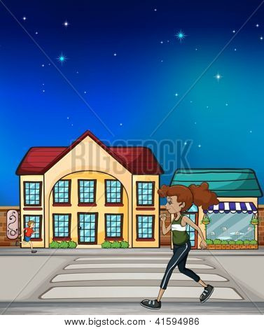 Illustration of a woman walking hurriedly in the street