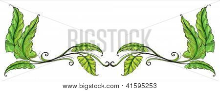 Illustration of a leafy border on a white background