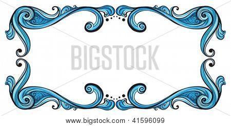 Illustration of a blue border line on a white background