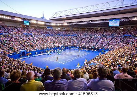 MELBOURNE - JANUARY 27: Crowd t Rod Laver Arena during the 2013 Australian Open Mens Championship Final on January 27, 2013 in Melbourne, Australia.