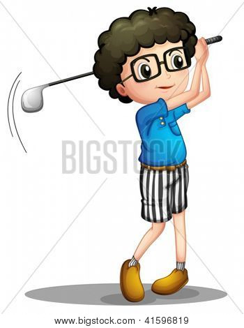 Illustration of a young boy playing golf on a white background